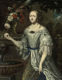 portrait of a lady (madame ninon de lenclos?) in a lace-trimmed blue and gray dress, with roses, narcissi and other flowers in a roemer on a ledge by henri gascars