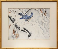 blue bird in a tree laden with snow by chiura obata