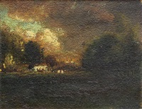 storm clouds approaching a farm by william keith