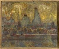 stadtlandschaft am fluss mit feuerwerk by eugeni vasilev