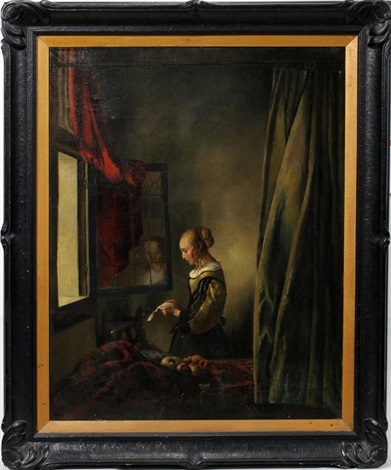 girl reading a letter at an open window by johannes van delft vermeer