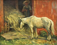 barnyard scene with figure and horse by george benjamin luks