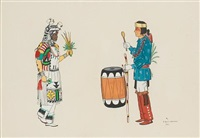 a pueblo dancer and a drummer by gilbert atencio