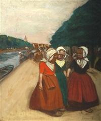 promenade des fillettes sur le halage by fernand piet