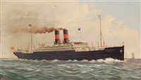 "the ""s.s. frederick viii"" of the scandinavian american line in calm seas by ferdinand worms"