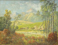 clearing with mountain vista by maurice braun