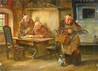 klosterbrüder in der stube, ihrem tagewerk nachgehend by leonhard wilhelm lehmann