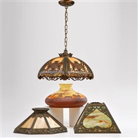 slag chandelier and three lamp shades shades: two slag and one chipped with a dutch landscape by arts & crafts mission