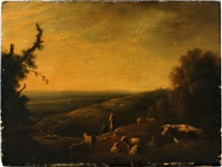 landscape with sheep by julius caesar ibbetson