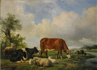 landskap med betande boskap by hendrik van de sande bakhuyzen