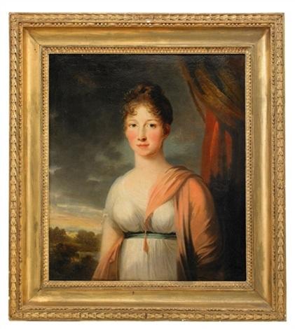 porträtt av friherrinnan anna maria boije af gennäs född wennerstedt iklädd vit klänning och rosa sjal by carl fredrik van breda
