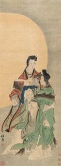 双美图 立轴 绢本 by ren xiong