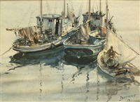 fishing boats in harbor by james milton sessions