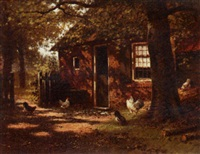 chickens in a farmyard by marinus adrianus koekkoek the younger