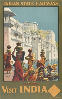 indian state railways, visit india (poster) by william spencer bagdatopolous