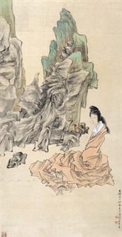 静坐仕女图 立轴 绢本 by ren bonian