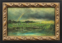 landscape with rainbow and cattle by willem elisa roelofs