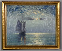 depicting sailboat at sunrise by theodore victor carl valenkamph