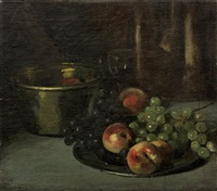 still life with peaches and grapes by william merritt chase