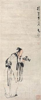 采菊东篱下 立轴 纸本 by huang shen