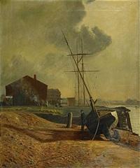 """två män vid båten """"tina"""", tranegraven - köpenhamn by olof krumlinde"""