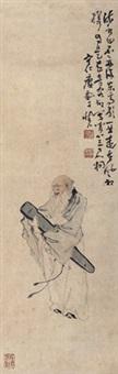 抱琴老翁 立轴 纸本 by huang shen