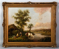 river view with cows and young people by a thatched roof house by henry milbourne