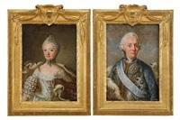 porträtt av kung adolf fredrik och hans maka drottning lovisa ulrika (pair) by ulrika (ulla frederika) pasch