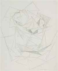 a man's face within a profusion of geometric forms by oscar howe