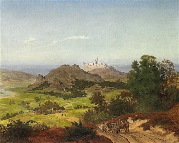 weite französiche landschaft mit burgdorf by emanuel gottlieb leutze