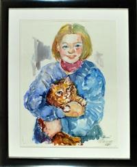 junges mädchen hält eine katze im arm by michaela krinner