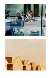 diptych bank window, toronto, canada, new tract houses, bayonne, n.j. 1966 (2 works) by dan graham