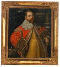 porträtt av gustav ii adolf iklädd gul dräkt och röd rock med ymnig brodyr samt spetskrage - stående midjebild i interiör med kungakrona by cornelius arendtson