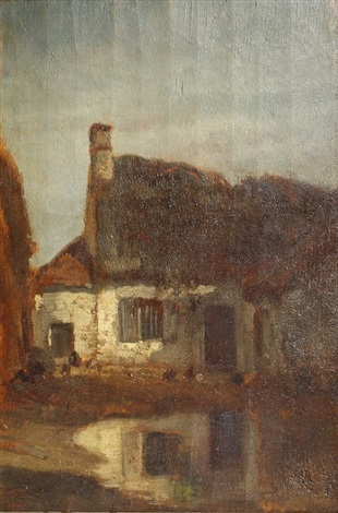 a farmhouse with a pond mare dans une cour de ferme by constant troyon