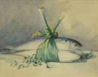 still life with fish wrapped in leeks by helen whitney kelley