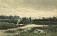 cows along a stream by pieter louis hoedt