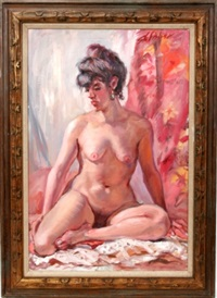 seated female nude by stephen fisher