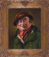 portrait eines verschmitzt lächelnden bauern mit hut, brustbild en face by franz xavier wölfle