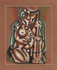 a cubist kneeling figure by fred kabotie