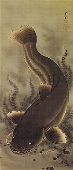 enormous fish moving through feathery green waterweeds, its sinuous body curving upward by japanese school (20)