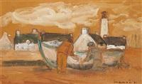 flusslandschaft mit fischern und boot by alphonse lanoe
