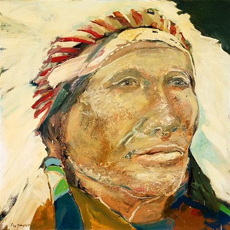 native american with headdress by ira yeager