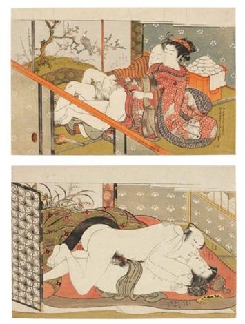 sans titre oban deux amants nus enlacés au mois de mars les cerisiers en fleurs from furyu junikino eiga various sizes 3 works by isoda koryusai