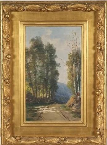 birch trees along a dirt road by william h. hillard