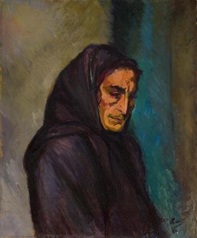 portrait of an elderly lady by jacques gaston emile vaillant