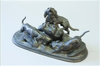 a bronze group of blood hounds and another hound, at the entrance to an earth by jules moigniez