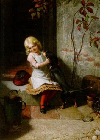 kleines mädchen spielt mit ihrem dackel an der hoftür by carl rohde