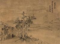 疏林远山图 (landscape) by ma shijun