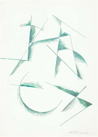 untitled composition in green by alexander vesnin
