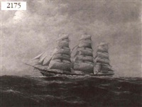 three masted ship at sea by arthur e. bracy